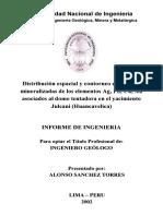 Distribución espacial y contorneo en franjas mineralizadas de los elementos Ag, Pb, Cu, Au asociados al domo tentadora en el yacimiento Julcani (