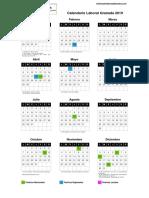 Calendario Labora Granadal 2019