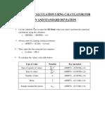 Statistical Calculation Using Calculator