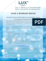 LSAA Job Poster Advert - Senior Italian Restaurant Manager