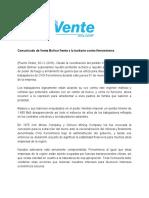 Comunicado de Vente Bolívar Frente Al Ataque a Ferromineros