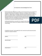 Harassment Awareness Acknowledgement Form