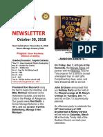 Moraga Rotary Newsletter Oct 30, 2018