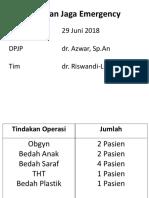 Laporan Jaga Emergency 29 Juni 2018