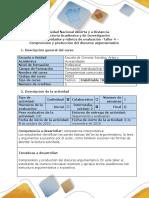 Guía de Actividades y Rúbrica de Evaluación - Taller 4 - Comprensión y Producción Del Discurso Argumentativo
