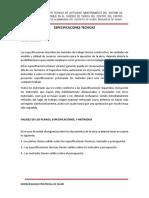 ESPECIFICACIONES TECNICAS TASHTA