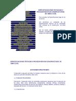 Especificaciones Tecnicas o Procedimientos Constructivos