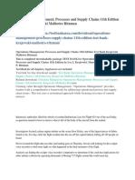 Operations Management Processes and Supply Chains 11th Edition Test Bank Krajewski Malhotra Ritzman