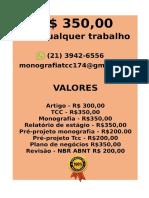 Por somente  R$ 349,99 POR qualquer  TCC OU MONOGRAFIA WHATSAPP (21)974111465    (59)--