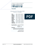 Estrazioni del Lotto Italiano di sabato 3 Novembre 2018