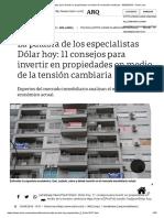 Consejos Para Invertir en Propiedades en Medio de La Tensión Cambiaria - 30-08-2018 - Clarín.com