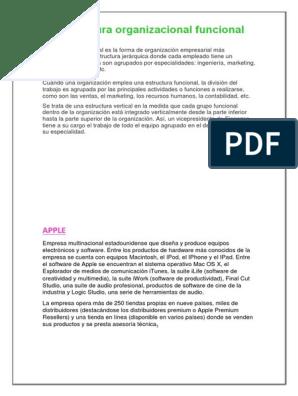 La Estructura Organizacional Funcional Apple Inc Macintosh