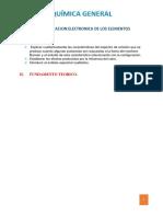 Inf. Labo. configuración electrónica de los elementos químicos