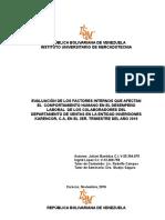 EVALUACION DE LOS FACTORES INTERNOS QUE AFECTAN EL COMPORTAMIENTO HUMANO EN EL DESEMPEÑO LABORAL DE LOS COLABORADORES DEL DEPARTAMENTO DE VENTAS DE LA ENTIDAD INVERSIONES KARENCOR,C.A.