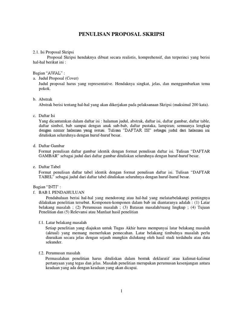 Format Daftar Isi Proposal Skripsi Pejuang Skripsi