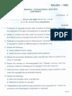 BALLB Question paper on Copyright.pdf