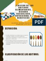 Definicion de Los Aditivos Alimentarios, Riesgos Toxicolicos