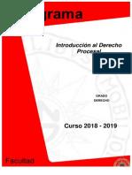 Programa Derecho Introducción Al Derecho Procesal 2018-2019.PDF