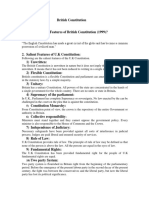 USA Sailent Features of U.K Constitution