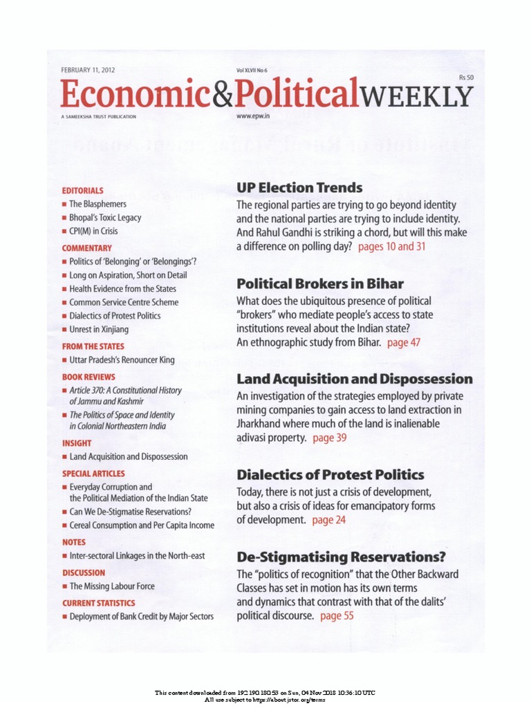 Economic and Political Weekly Vol  47, No  6, FEBRUARY 11
