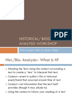 SHS Literature Historical Biographical Analysis