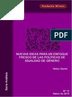 Análisis No. 19. Nuevas Ideas Para Un Enfoque Fresco de Las Políticas de Igualdad de Género