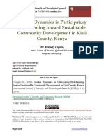 Gender Dynamics in Participatory Fish-Farming Toward Sustainable Community Development in Kisii County, Kenya