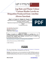 The Burning Rate and Flame Colour Effects of Various Binder Levels on Briquettes Produced From