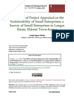 The Effect of Project Appraisal on the Sustainability of Small Enterprises; A Survey of Small Enterprises in Langas Estate, Eldoret Town-Kenya