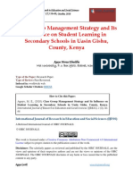 Class Group Management Strategy and Its Influence on Student Learning in Secondary Schools in Uasin Gishu County