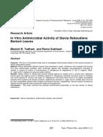 In Vitro Antimicrobial Activity of Stevia Rebaudiana Bertoni Leaves
