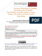 Enterprise Resource Planning on Quality of Financial Reports of Public Universities in Uasin Gishu County