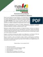 Declaración del 8vo. FSMM 2018