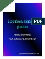 Exploration du métabolisme glucidique
