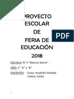 Proyecto Escolar de Feria de Ciencias 2018