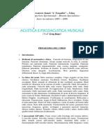 PROGRAMMA AcusticaPsicoacusticaMusicale a.a.2005 2006