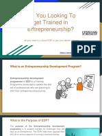 The Purpose of Entrepreneurship Development Programme (EDP)