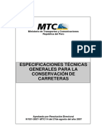 Especificaciones Tecnicas Mantenimiento Carreteras