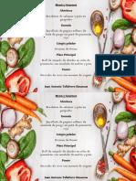Modelo de menú para restaurant