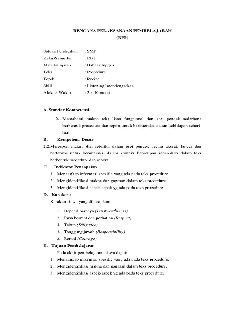 Lampiran Rpp 9 Procedure Text