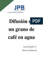 Difusion de Un Grano de Cafe en Agua