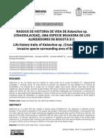 RASGOS DE HISTORIA DE VIDA DE Kalanchoe sp. (CRASSULACEAE), UNA ESPECIE INVASORA DE LOS ALREDEDORES DE BOGOTÁ D.C.
