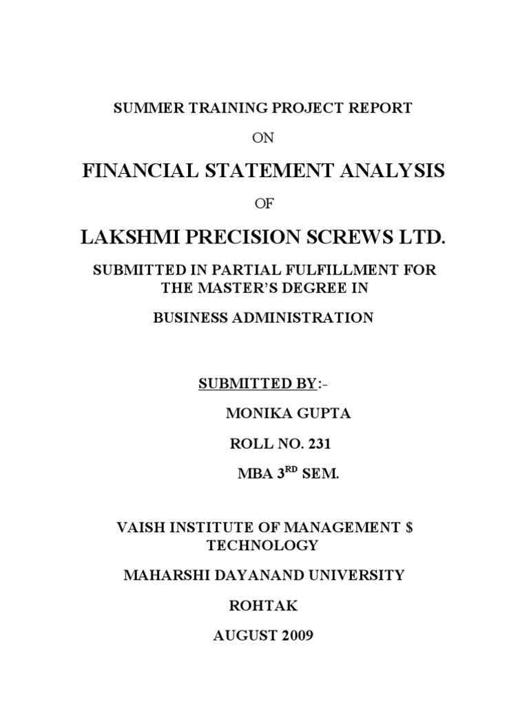 Summer Training Project Report Financial Capital Dividend