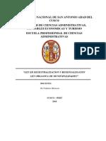 Ley Organica Municipalidades y Ley Desentralizacion