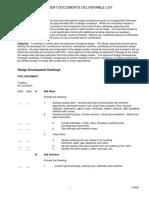 9B Design Development Deliverable List