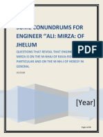 CONUNDRUMS FOR ENGINEER ALI MIRZA OF JHELUM 05-11-2018CE