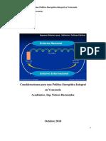 Consideraciones Para Una Política Energética Integral en Venezuela