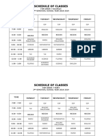 Class Schedule - 2nd Semester Academic Year '18-'19