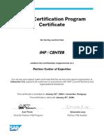 PCOE Certification Certificate - Infocenter S A