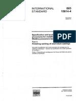 ISO 15614-4-2005 Finishing Welding of Aluminium Castings